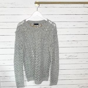 ASOS Sweaters - ASOS Gray Open Knit Acrylic Blend Pullover Sweater